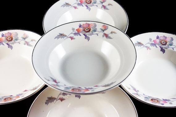 Cereal Bowls, Symphony by Salem, Platinum Gold, Floral Pattern, Set of 5, Serving Bowls, Porcelain