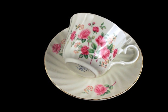 Teacup and Saucer, Royal Patrician, Bone China, Rose Pattern, Gold Trimmed, Made in Staffordshire England