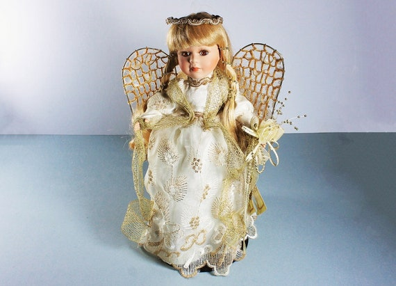 Angel Porcelain Doll, Collectors Choice, Dan Dee, Leslie, Christmas Doll, Holiday Doll, Stand Included, Original Tags, Collectible