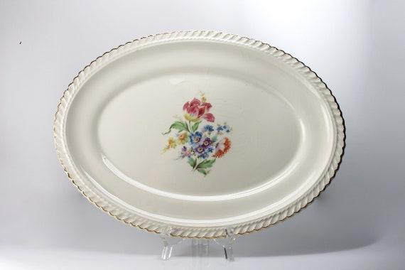 Oval Platter, Harker Pottery Co, 13 Inch, Floral Center, 22K Gold Trim, Fine China