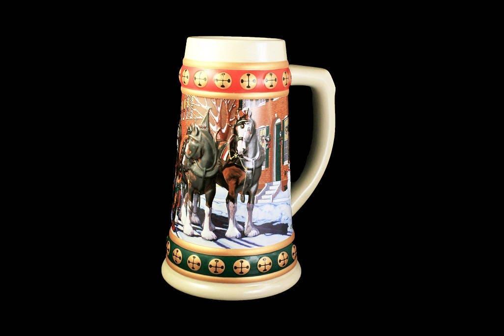 1993 budweiser holiday stein hometown holiday beer stein christmas stein collectible anheuser busch stein - Budweiser Christmas Steins