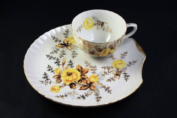 Snack Plate and Cup, Bone China, Shell Shaped Plate, Yellow Rose Pattern, Gold Trim
