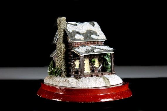 Resin Cabin Figurine, Lipco, Hand Painted, Wooden Base, Collectible, Winter Cabin, Christmas Decor, Winter Decor