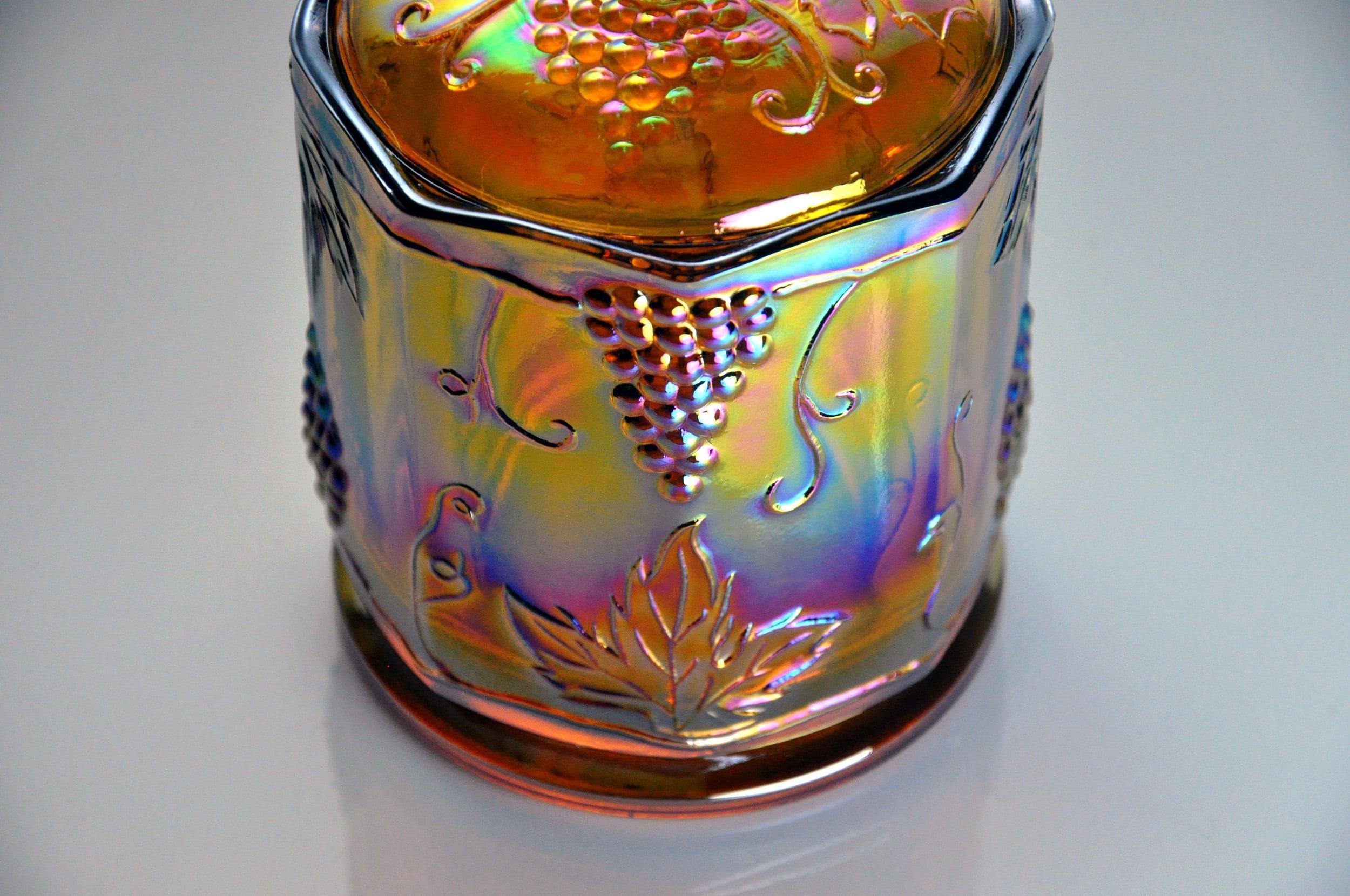 Carnival Glass Candy Jar, Indiana Glass, Harvest Pattern ...