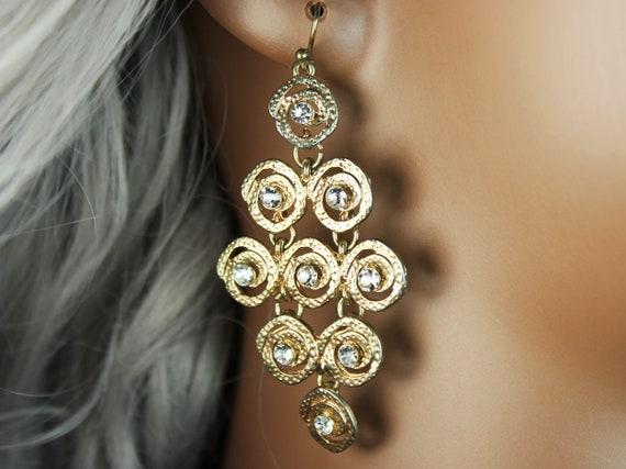 Chandelier Earrings, Clear Rhinestone, Shepherd Hook, Gold-Tone, Retro