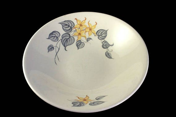 Vegetable Bowl, Knowles, Yellow and Gray, Serving Bowl, Display Bowl, Centerpiece, Hard to Find