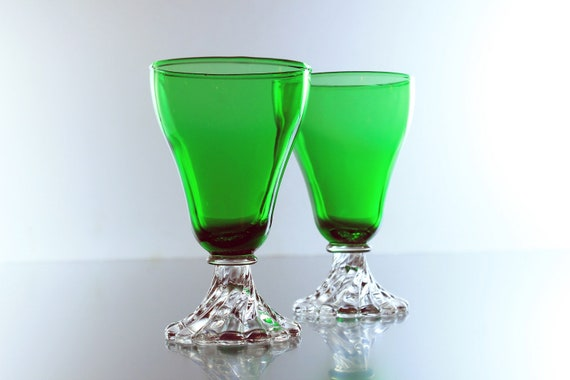 Anchor Hocking Burple Glasses, Juice Glasses, Green Bowl, Bead Stem, Swirl Foot, Wine Glasses, Set of 2, Champagne Glasses