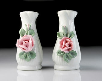 Salt and Pepper Shakers, Raised Flowers, Hand Painted, Porcelain