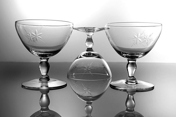 Star Cut Champagne Glasses, Susquehanna Glass, Six Point Star, Set of Three, Barware