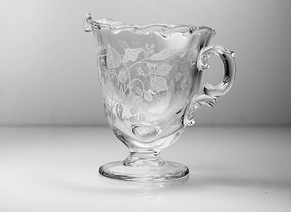 Fostoria Etched Creamer, Lacy Leaf, Clear Glass, Pedestal