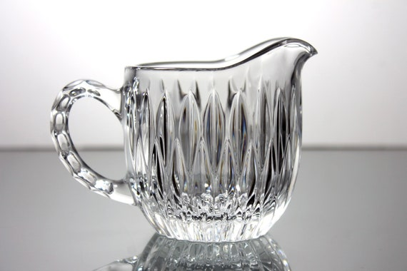 Crystal Glass Creamer, Vertical Cut, Clear Pressed Glass