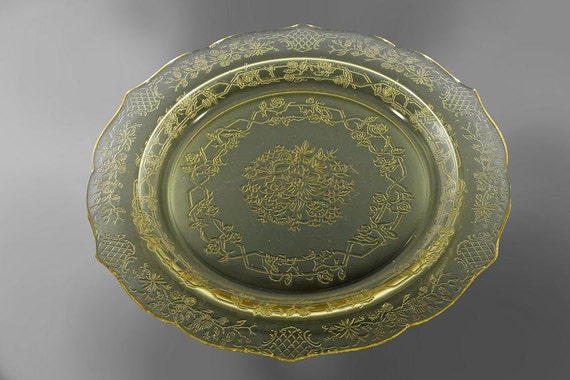 Federal Glass, Amber Depression Glass, Normandie, Dinner Plate, Amber Depression Glass, Flowers and Lattice