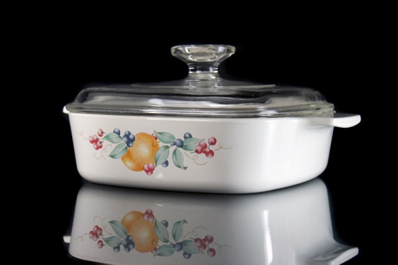 Corning Abundance Casserole Bowl, Clear Lid, One Quart, One Liter, Ovenware, Fruit Design, Discontinued