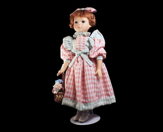 Collectible Porcelain Doll, Pink and Green Gingham Dress, Red Hair Doll, Display Doll, Stand Included, 17 Inch Doll