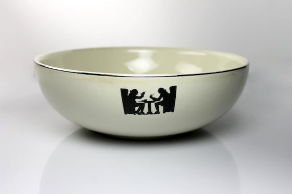 Salad Serving Bowl, Halls Kitchenware, Silhouette, Made in the USA, Discontinued
