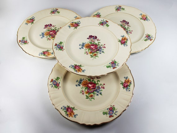 Dinner Plates, Syracuse China, Santa Rosa, Set of 4, Floral Design