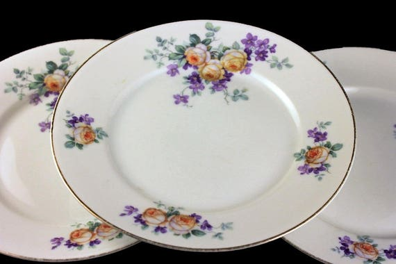 Antique Salad Plates, Thomas Bavaria, Yellow Rose, Floral Pattern, Set of 3, Collectible, Gold Trim