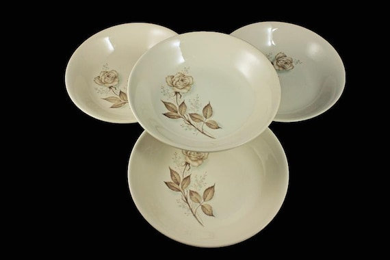 Mount Clemens, Coupe Soup Bowls, Brown Rose, Hard to Find Pattern, Floral Pattern, Set of 4