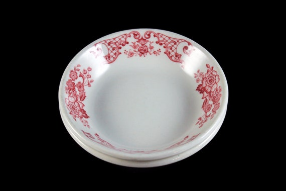 Fruit Bowls, Syracuse China, Restaurant Grade, Red Floral, Set of 2, Dinnerware