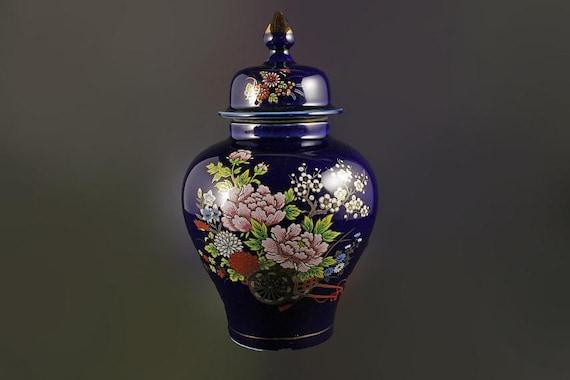 Ginger Jar, Bijutsu Toki, Japanese Art, Cobalt Blue, Temple Jar, Floral Pattern, Gold Trim