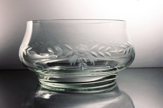 Etched Crystal Bowl, Footed Bowl, Floral Design, Clear Glass, Salad Bowl, Centerpiece