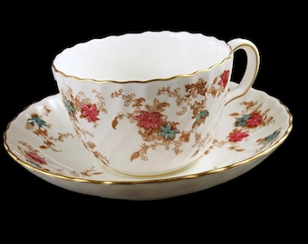 Minton China Tea Cup and Saucer, Ancestral S376