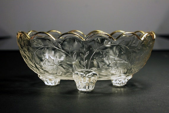 Open Candy Bowl, Jeannette Glass, Louisa Clear, Oval,  4 Footed Bowl, Floral Pattern, Clear Glass, Candy Dish, Gold Trimmed, Scalloped Edge