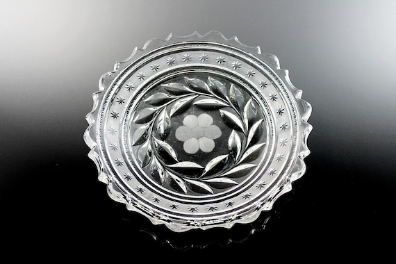 Antique EAPG McKee Bowl, Innovation, Shallow, Clear Glass, Cut Floral, Giftware