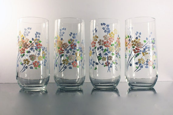 Everyday Drinking Glasses, 12 Ounce, Pink Blue Green, Floral Pattern, Set of 4, Tumblers