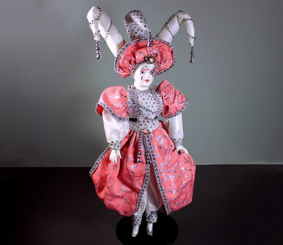 Harlequin Porcelain Doll, Collector's Choice, Jester Doll, Mardi Gras Doll, 20 Inches Tall, Collectible, Doll Stand Included, Display Doll