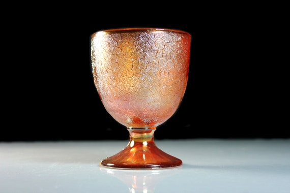 Carnival Glass Goblet, Imperial Glass, Marigold Crackle, Barware, Stemware, Discontinued