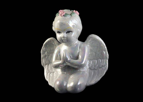 Lusterware Cherub Angel Figurine, Porcelain, Made in China, Nursery Decor, Collectible