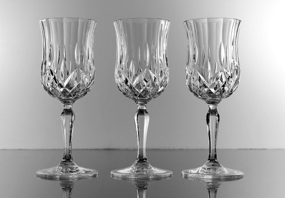 Crystal Wine Glasses, Champagne Glasses, Set of 3, Cut Glass, Barware