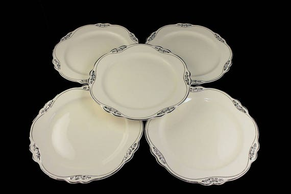 Salad Plates, Homer Laughlin, Silver Rose-Patrician, Platinum Florals and Trim, Virginia Rose Shape, Set of 5, Fine China