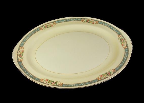 15 Inch Platter, Homer Laughlin, Blue Dawn, Eggshell Nautilus, Blue Border, Floral Pattern, Fine China