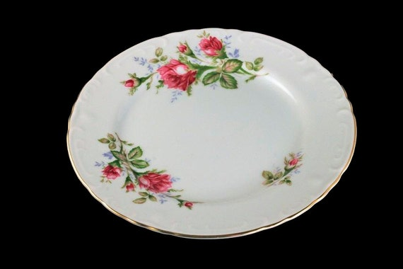 Salad Plate, Grant Crest, Royal Rose, Fine China, Made in Japan, Embossed Edge, Gold Trimmed