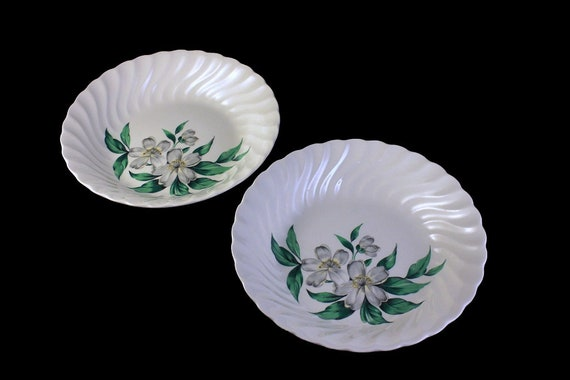 Coupe Soup Bowls, Royal China Inc (USA), Dogwood, Hard to Find Pattern, Floral Pattern, Set of 2, White Bowls. Discontinued
