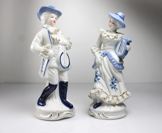 Colonial Figurines, Man and Woman, Musicians, Matched Set, Porcelain, Blue and White, Gold Trimmed