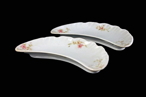 Antique Bone Dish, Syracuse China, Crescent  Shaped Dish, Floral Pattern, Embossed, Side Dish, Set of 2