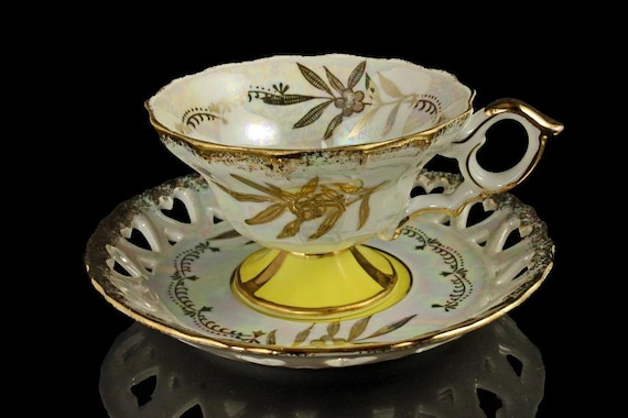 Teacup and Saucer,  Royal Halsey, Pedestal Footed, Opalescent, Iridescent, Lusterware, Reticulated