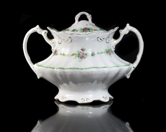 Antique Oval Sugar Bowl, T & R Boote, Flemish Garland, Waterloo Potteries, Royal Semi-Porcelain, Fine China, Floral Swag, Embossed