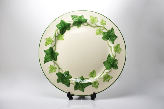 Dinner Plate Franciscan California, Ivy, 10 Inch, Green and Cream