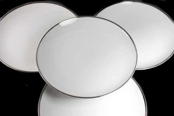 Bread and Butter Plates, Harmony House, Moderne, Platinum Trim, Set of 4, Fine China, White, Bun Plate, Roll Plate