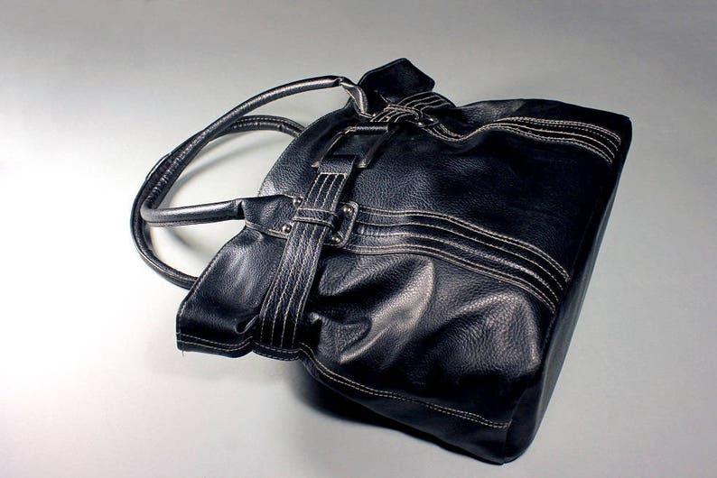 3e6af8d8c35a87 Black Tote Bag Handbag Top Handle Faux Leather Internal | Etsy