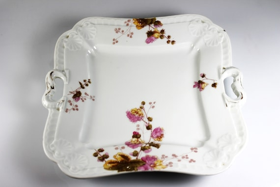 Antique Square Tray, Leonard Vienna, Pink Flowers, Handled, Embossed, Gold Trim