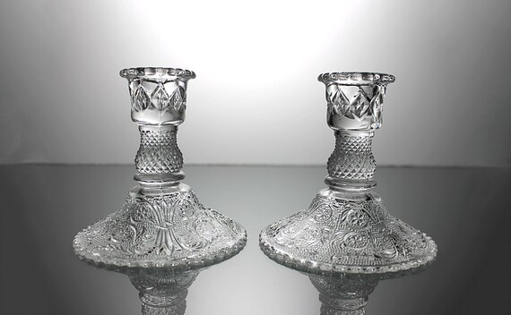 Duncan & Miller Candlesticks, Sandwich, 4 Inch, Candle Holders, Pair, Clear Glass, Discontinued, White Taper Candles Included
