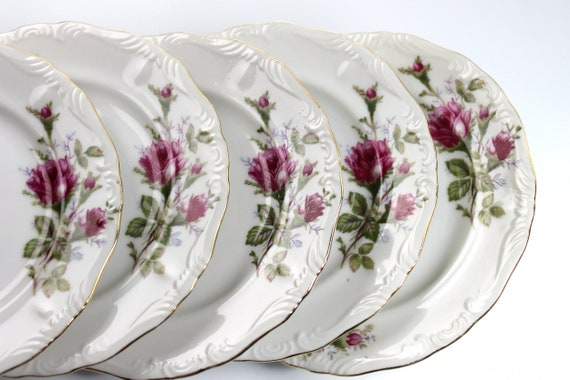 Bread and Butter Plates, Royal Rose China, Set of 5, Fine China, Made in Japan, Embossed Edge, Gold Trimmed, Bun Plates, Roll Plates