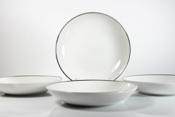 Soup Bowls, Harmony House, Moderne, Platinum Trim, Set of 4, Fine China, White, Coupe Bowls