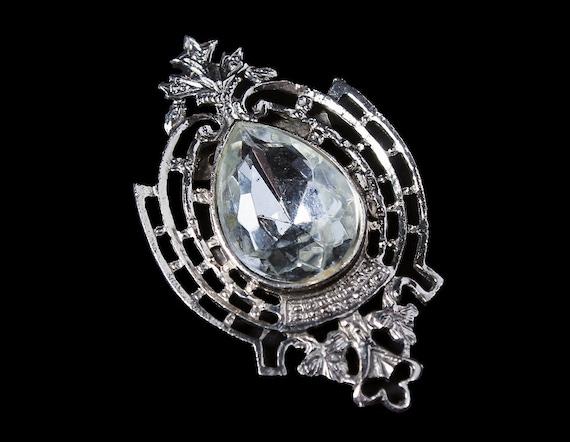 Antique Brooch, Single Stone, Clear Rhinestone, Silver Tone, Handmade, C Saftey Closure,  Fashion Pin, Costume Jewelry, 1900s Collectible