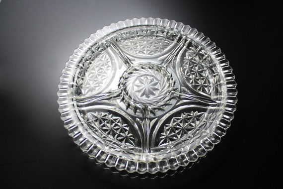 Anchor Hocking Divided Relish Tray, Stars and Bars, Star and Arch, Clear Pressed Round Glass, 12 Inch, 6 Section